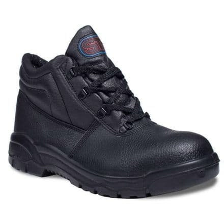 Supertouch Chukka Boot S1P Black Leather Steel Toe Cap & Mid Sole Safety Boot